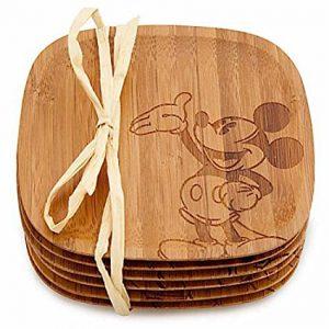 Disney Parks Mickey Mouse Gourmet Bamboo Coaster Set of 6