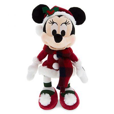 "Santa Minnie Mouse Stuffed Animal Retro Plush – 9"""