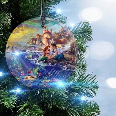 Disney The Little Mermaid Glass Christmas Ornament