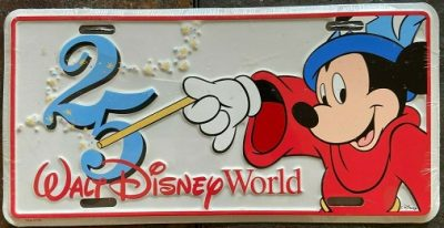 Walt Disney World 25th Anniversary Metal License Plate – 1996