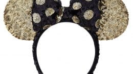 Black and Gold Minnie Mouse Sequined Ear Headband with Bow